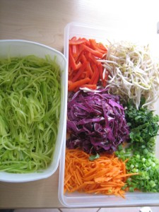 Raw pad thai ingredients (sauce not pictured here)